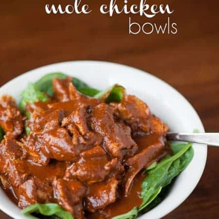 Enjoy a quick, delicious, and healthy dinner by making 10 Minute Mole Chicken Bowls with chicken, mole sauce, brown rice, & veggies using a pressure cooker.
