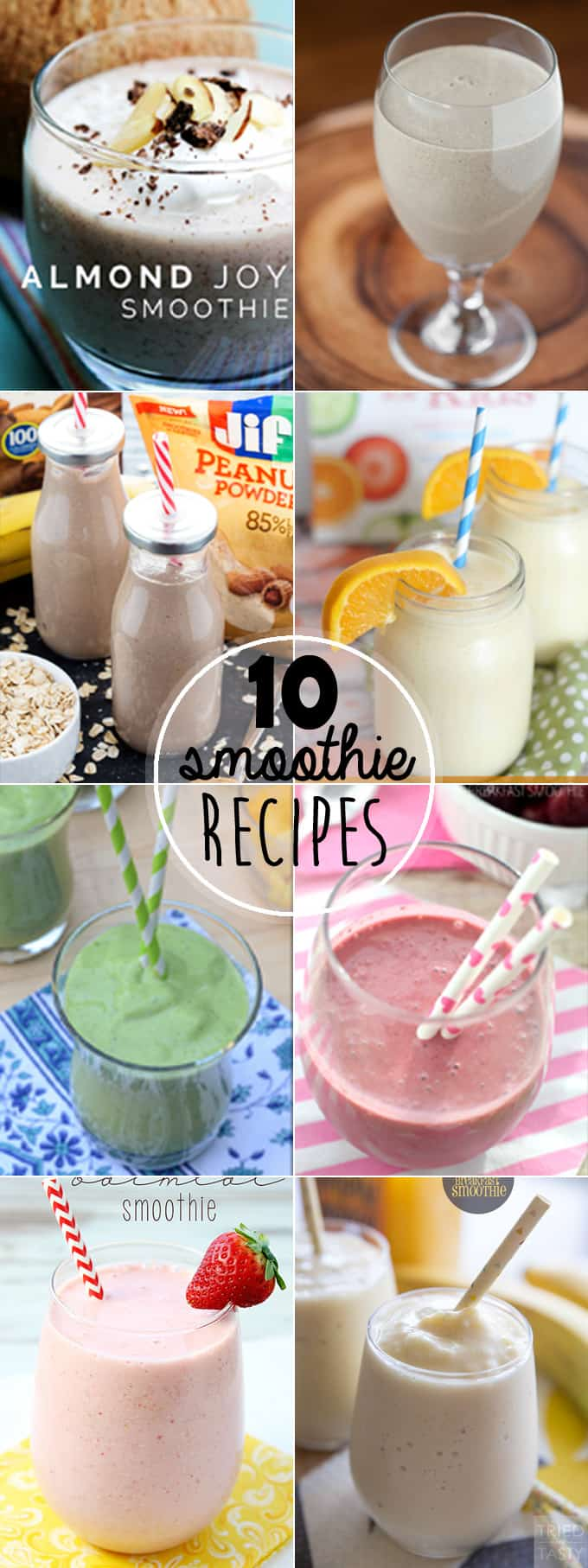 I've rounded up my favorite 10 Best Smoothie Recipes so that you can incorporate tasty, healthy, protein, & fiber filled ingredients into a quick breakfast.