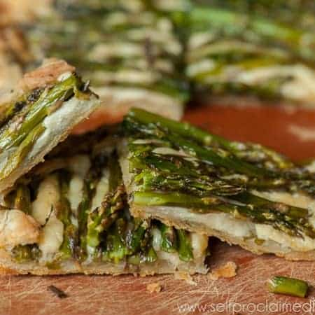 Asparagus Gouda Galette is a delicious, rich, flaky dish that can either be served as an appetizer or as a brunch entree when topped with poached eggs.