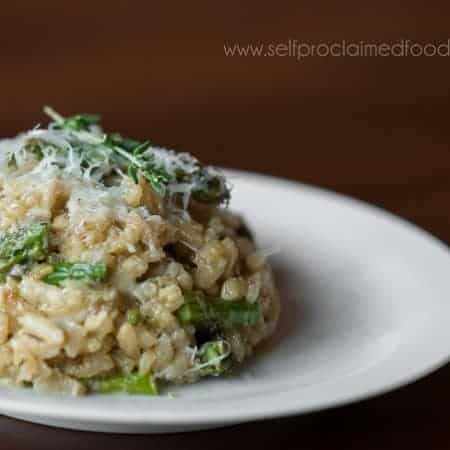 This Asparagus Risotto with Pecorino Romano recipe yields a creamy rich delicious dish that can be served as a side or star alone as its own entree.
