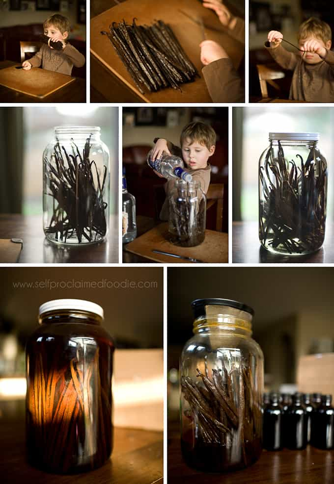 step by step process photos of how to make vanilla extract