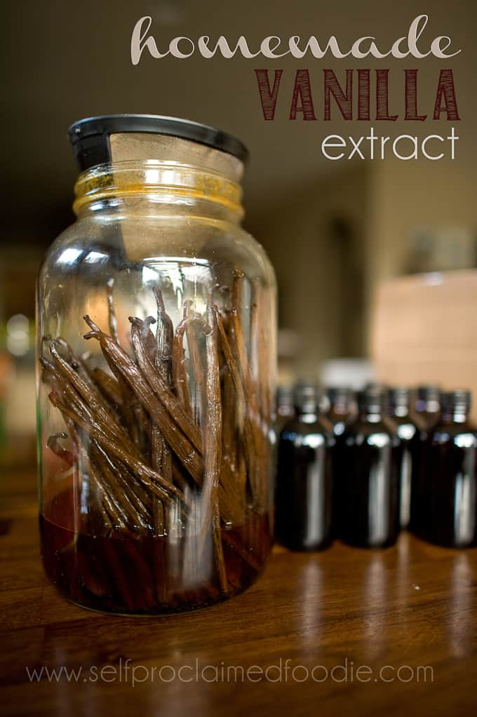 vanilla beans in large jar to make extract