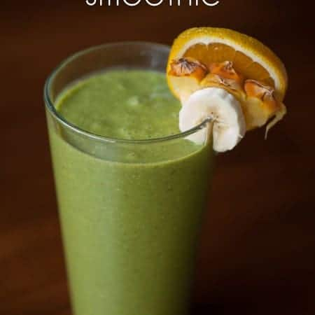 This tropical green smoothie is a creamy blend of pineapple, orange, banana and coconut. It is a super healthy and filling treat that your family will love.