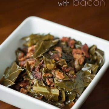 Collard Greens with Bacon, lots of bacon, are a tasty summertime Southern side that pairs well with barbecued meats, baked beans, potato salad, and coleslaw.