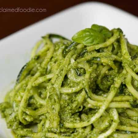 If you need a healthier, grain-free alternative to standard pasta, you can use zucchini noodles. Pesto zoodles taste great and are quick and easy to make.