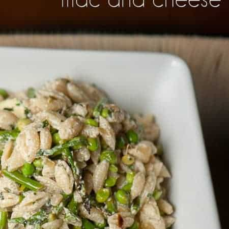This Spring Veggie Mac and Cheese combines fresh spring vegetables like English Peas, asparagus and zucchini with creamy goat cheese and tangy lemon juice.