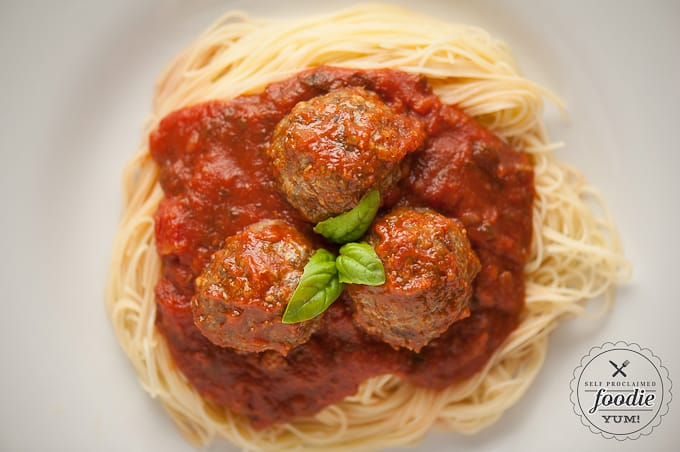 homemade baked italian Basil Meatballs with spaghetti