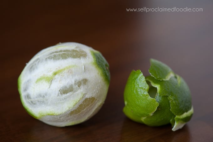 a lime with it\'s peel removed