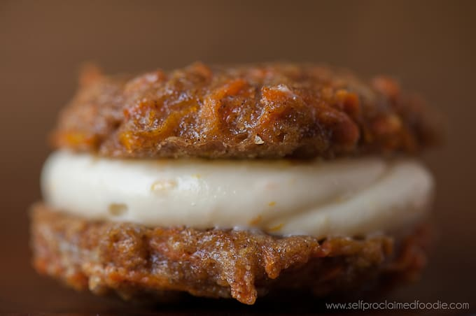 close up side view of Carrot cake Cookies with Orange Cream Cheese Filling