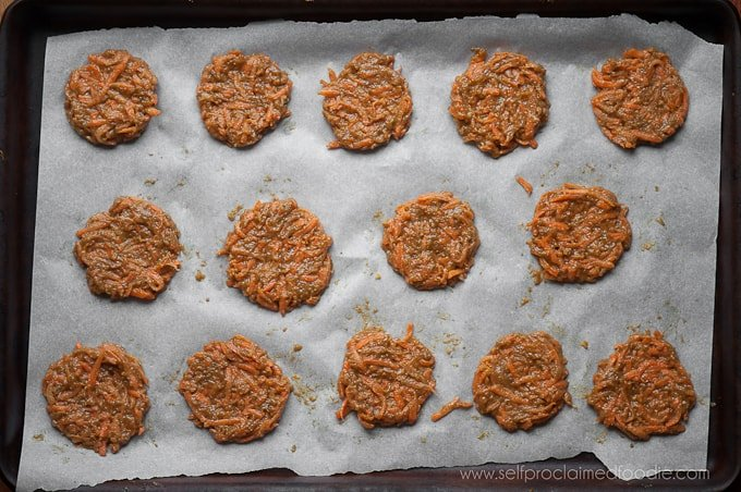 Carrot cookies on baking sheet before they are cooked
