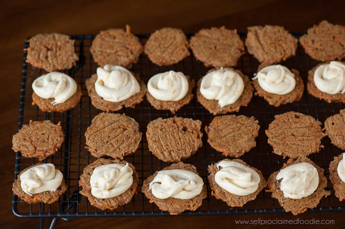 assembling carrot sandwich cookies with Orange Cream Cheese Filling