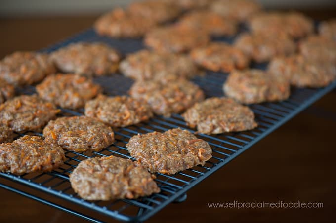 Super soft carrot cookies on cooling rack