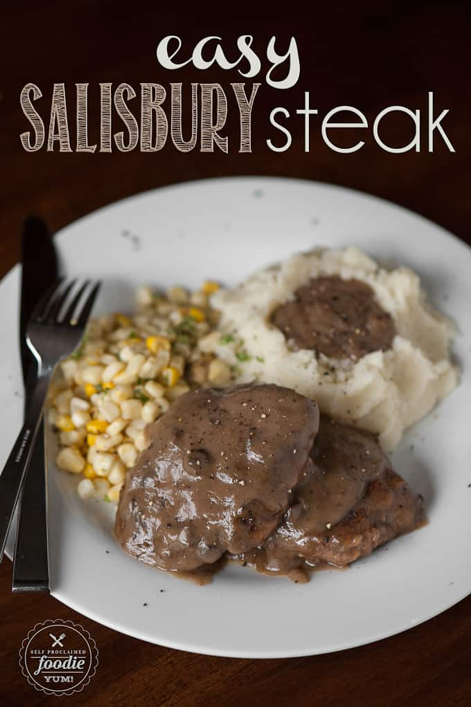 Salisbury steak with corn and mashed potatoes