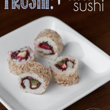 sweet sushi made with fruit on white plate