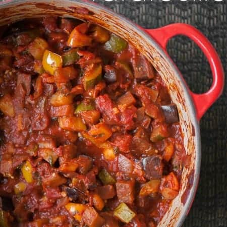 This Summer Vegetable Ratatouille is an easy to make hearty and healthy feel good meal made from eggplant, peppers, onion, zucchini and tomatoes.