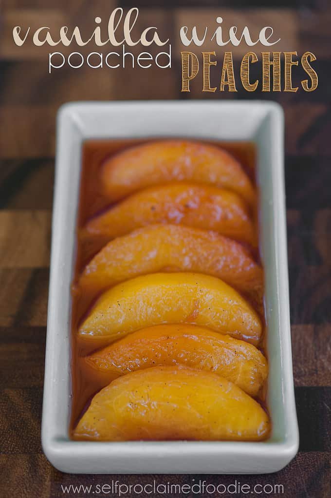 a dish of vanilla poached peach slices
