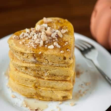 These Pumpkin Hazelnut Pancakes are made with pumpkin puree, toasted hazelnuts, and all the right spices for a delicious fall morning breakfast.