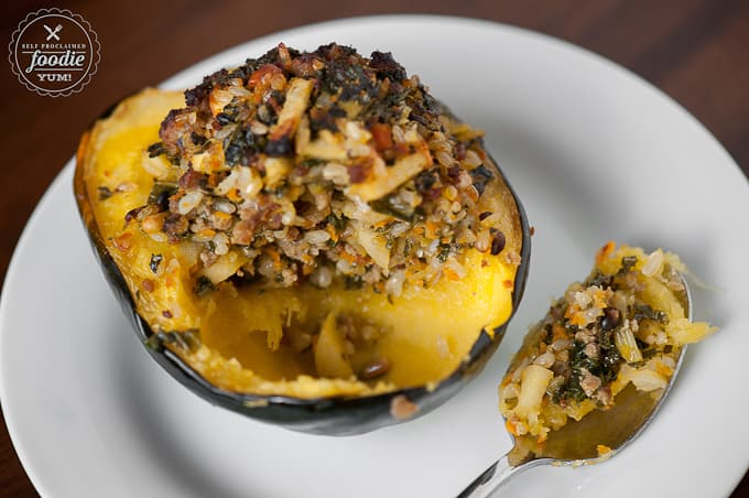 partially eaten stuffed acorn squash