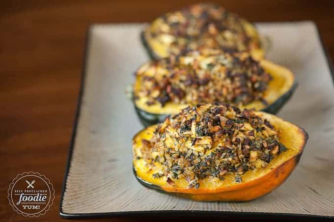 stuffed acorn squash on a dish