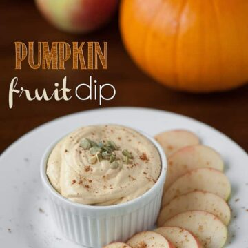 Pumpkin fruit dip with apples on the side