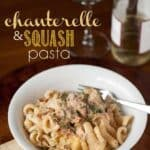 Using the best mushrooms on the planet, this super yummy Chanterelle and Squash Pasta in a light cream sauce topped with parmesan is heaven in a bowl.