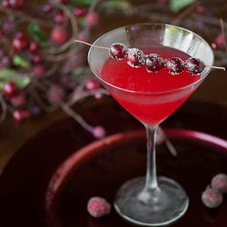 Make an extra batch of homemade cranberry sauce and pair it with vodka to transform it into a festive Cranberry Martini holiday cocktail.