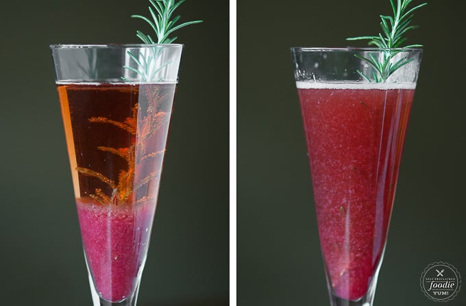 two glasses with cranberry pear moscato where one is layered and the other is mixed