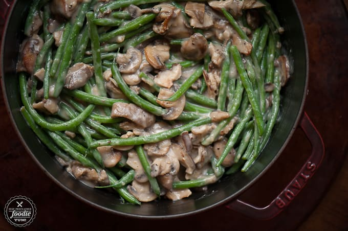 How to make Green Bean Casserole with fresh green beans and mushrooms