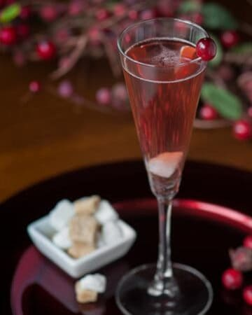 Sparkling Cranberry Rosé is a festive, delicious, and incredibly easy to make cocktail that would be perfect at any Fall or Winter party.