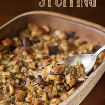 a baking dish of mushroom stuffing for Thanksgiving