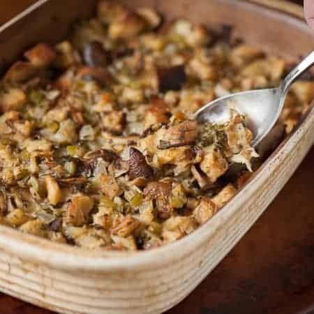 Thanksgiving wouldn't be complete without my favorite side dish: moist and flavorful Wild Mushroom Stuffing made with rosemary bread.