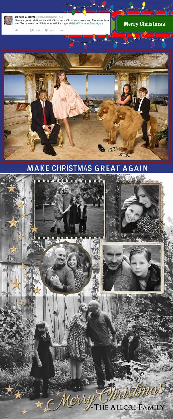 I'm sharing my favorite family holiday tradition with you: our the-fun-is-in-the-details sterotype mockery Holiday Cards! This year the cards went out two months early for a very special election edition!!!