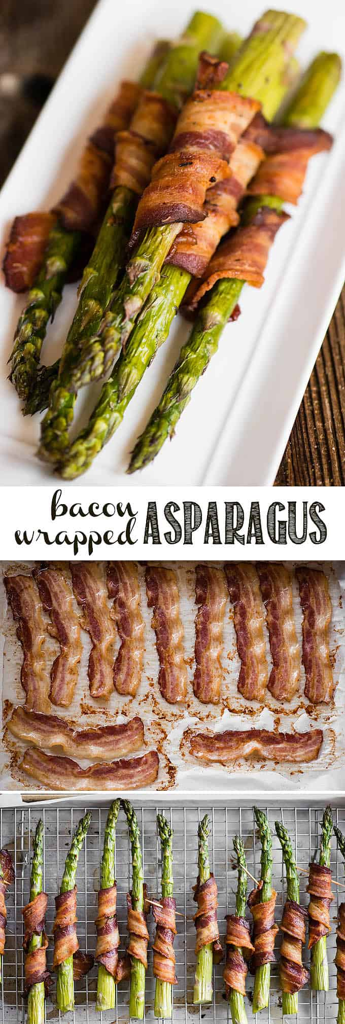Bacon Wrapped Asparagus can be perfectly oven cooked and served up as a tasty side dish to dinner or breakfast. This easy recipe shows the necessary tips on how to get tender asparagus wrapped in crispy bacon. Only a few ingredients are needed to make asparagus wrapped in bacon, and perfect results will follow! #bacon #baconwrapped #baconwrappedasparagus #asparagus #veggie #springveggie #ovenbaked
