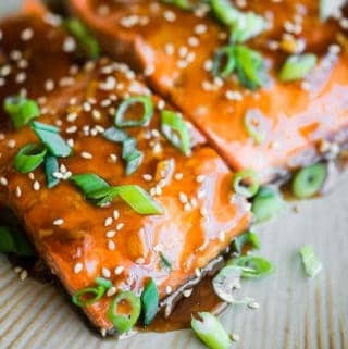 Baked Teriyaki Salmon with green onions and sesame seeds