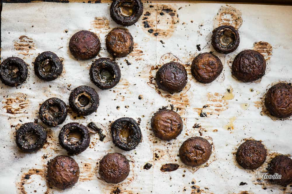 Balsamic Roasted Mushrooms on baking sheet
