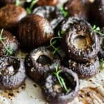 Balsamic Roasted Mushrooms on parchment paper