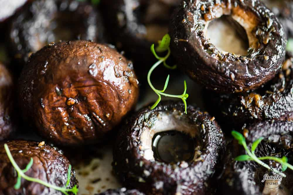 Close up of Balsamic Roasted Mushrooms