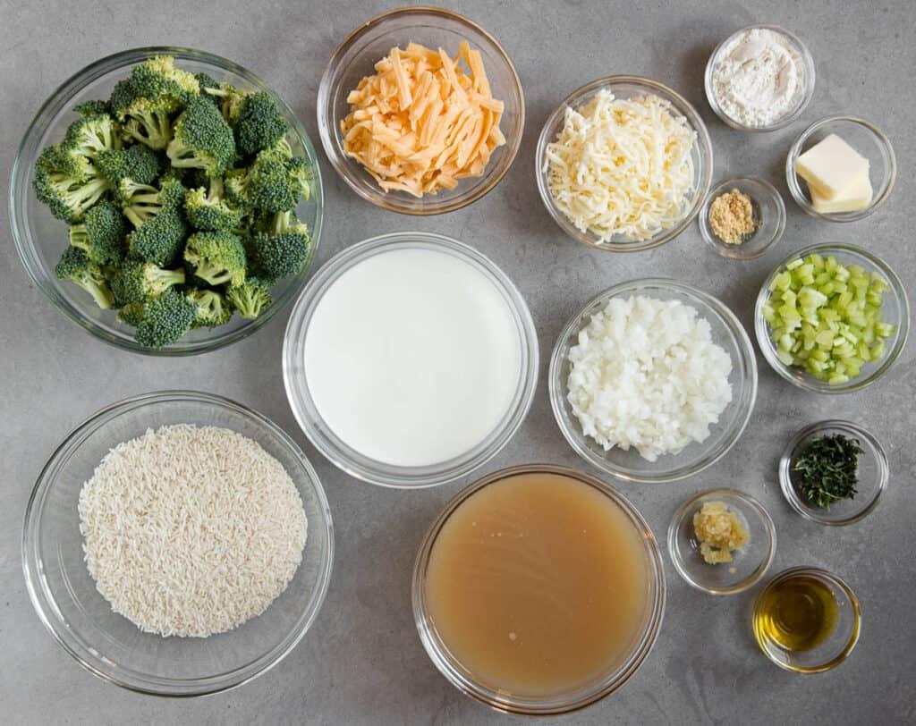 ingredients to make Broccoli Rice Casserole