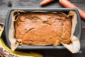 Top of Carrot Cake Banana Bread without frosting in pan