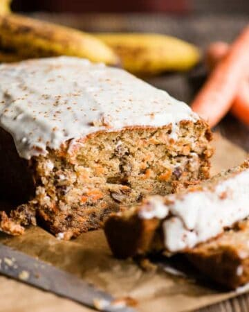Carrot Cake Banana Bread with frosting