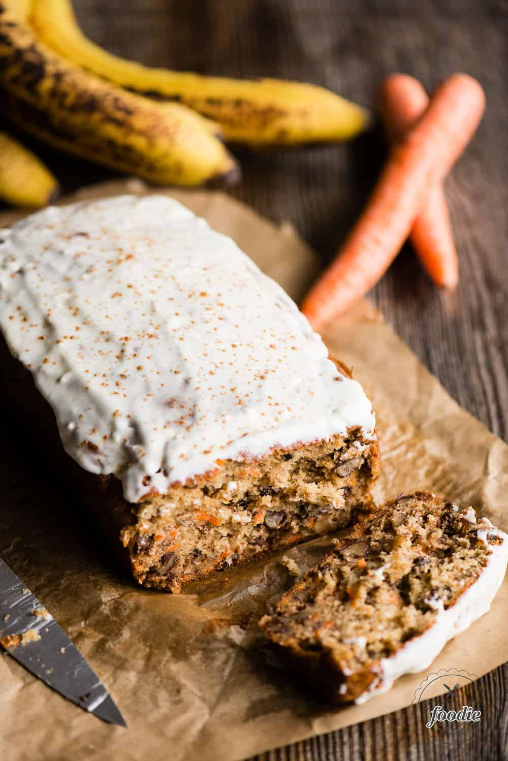 Whole Carrot Cake Banana Bread loaf with slice