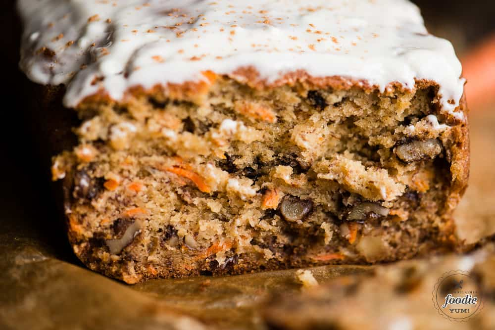 Inside of Carrot Cake Banana Bread loaf