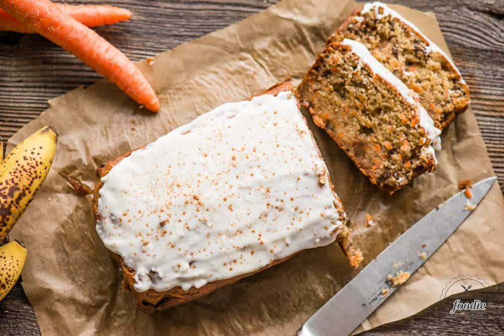 Carrot Cake Banana Bread and cream cheese frosting