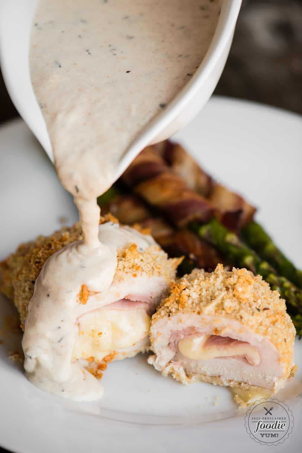 chicken cordon bleu with a dijon cream sauce