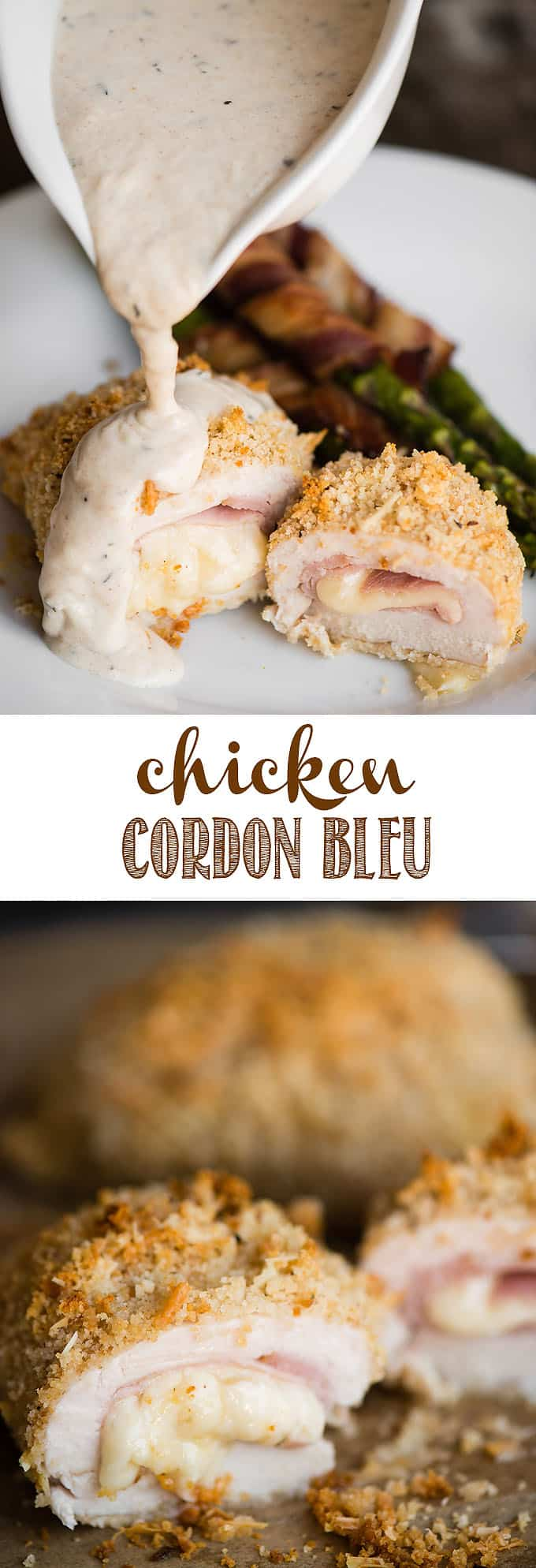 Chicken Cordon Bleu with Dijon Cream Sauce is an easy dinner you family will love. Tender boneless skinless chicken breasts are pounded thin, stuffed with swiss cheese and ham, coated with parmesan and bread crumbs, then baked to perfection. They are smothered in a flavorful cream sauce creating the perfect main dish! #chickencordonbleu #chicken #ham #cheese #creamsauce