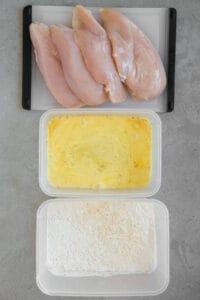 preparing chicken for frying