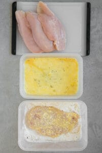 coating chicken breast in flour after egg wash