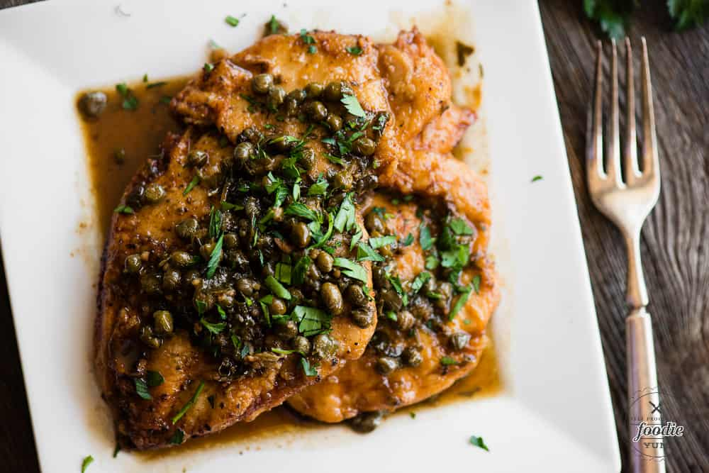 Chicken Piccata with capers and wine sauce