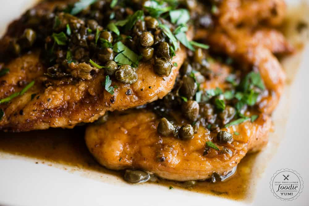 Close picture of homemade Chicken Piccata with capers