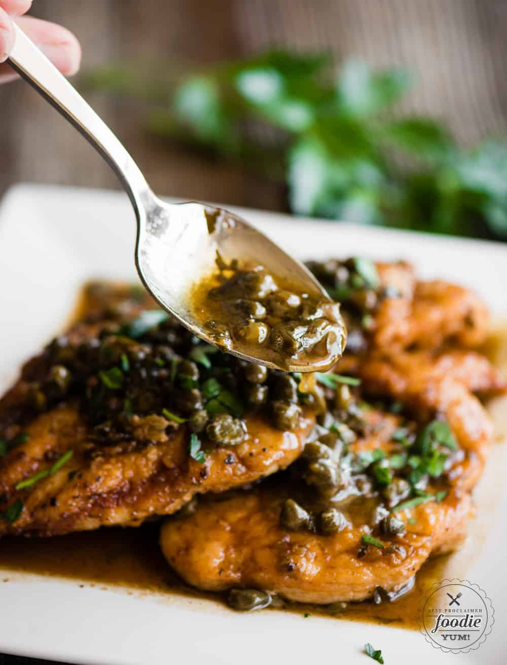 Sauce on top of Chicken Piccata